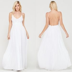 ARIEL Open Back Maxi Dress - WHITE